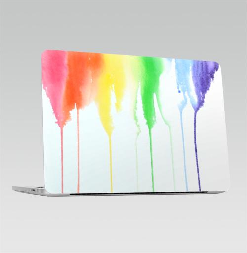 Наклейка на Ноутбук Macbook Pro 2016-2018 – Macbook Pro Touch Bar Радуга,  купить в Москве – интернет-магазин Allskins, спектр, акварель, радуга
