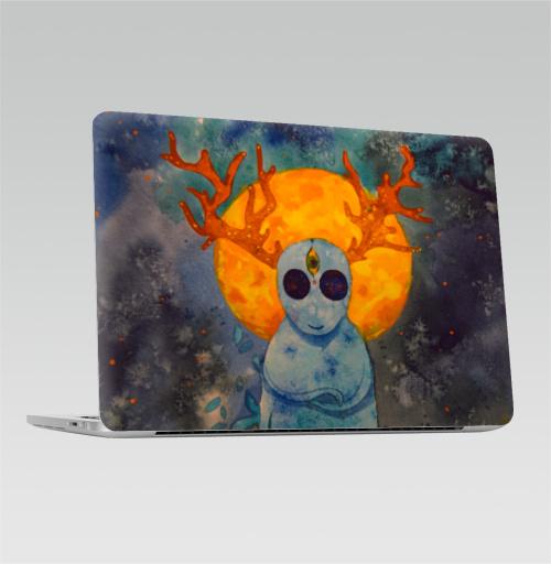 Наклейка на Ноутбук Apple Macbook Pro с Touch Bar Дух,  купить в Москве – интернет-магазин Allskins, дух, привидение, олень, призрак, луна, желтое, голубой, космос, звезда