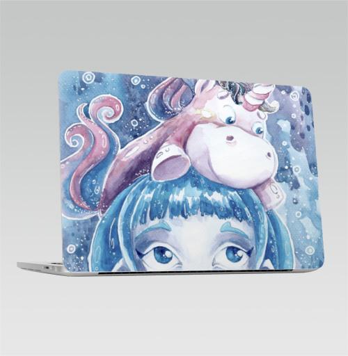 Наклейка на Ноутбук Apple Macbook Pro с Touch Bar Единорог на голове,  купить в Москве – интернет-магазин Allskins, акварель, девушка, детские, единорог, компьютер, синий