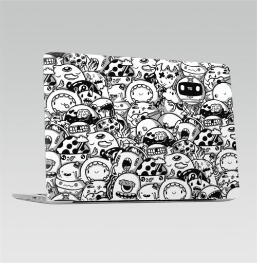 Наклейка на Ноутбук Apple Macbook Pro с Touch Bar Монохромные дудлы,  купить в Москве – интернет-магазин Allskins, дудлы, монохромный, серый, монстры, животные