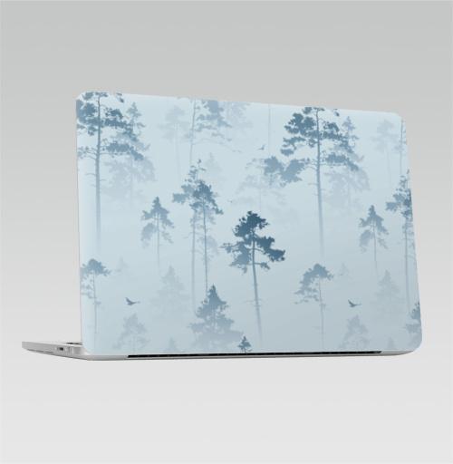 Наклейка на Ноутбук Macbook Pro 2016-2018 – Macbook Pro Touch Bar Лес. Туман,  купить в Москве – интернет-магазин Allskins, лес, деревья, сосны, туман, птицы, природа, пейзаж, небо, полёт