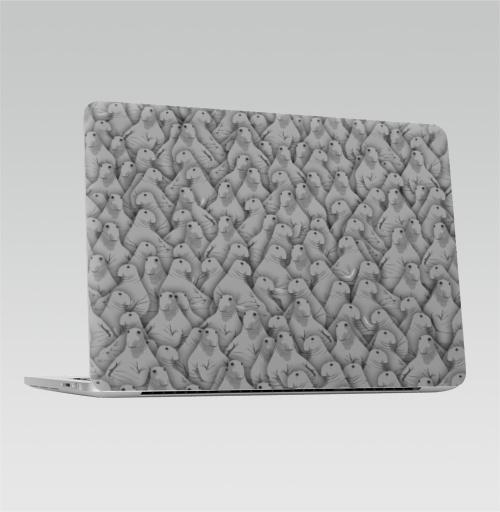 Наклейка на Ноутбук Apple Macbook Pro с Touch Bar Ждуны,  купить в Москве – интернет-магазин Allskins, Ждунб, мем, прикол, ожидание, толпа, серый, ждать