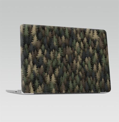 Наклейка на Ноутбук Apple Macbook Pro с Touch Bar Лесной камуфляж,  купить в Москве – интернет-магазин Allskins, лес, природа, охота, военные, хаки, деревья, ель, новый год