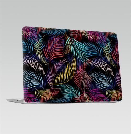 Наклейка на Ноутбук Apple Macbook Pro с Touch Bar Разноцветные листья пальмы,  купить в Москве – интернет-магазин Allskins, сказки, природа, миры, фантастика, скаты, космос, вселенная, ритм, модно