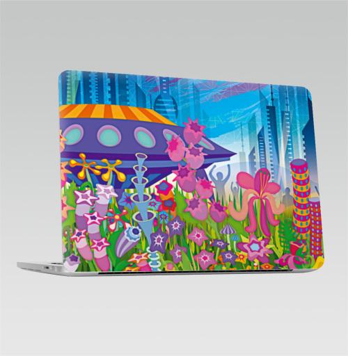 Наклейка на Ноутбук Macbook Pro 2016-2018 – Macbook Pro Touch Bar Тайна пятой планеты,  купить в Москве – интернет-магазин Allskins, психоделика, будущее, футуризм, цветы, космос, инопланетяне, небо, звезда, музыка