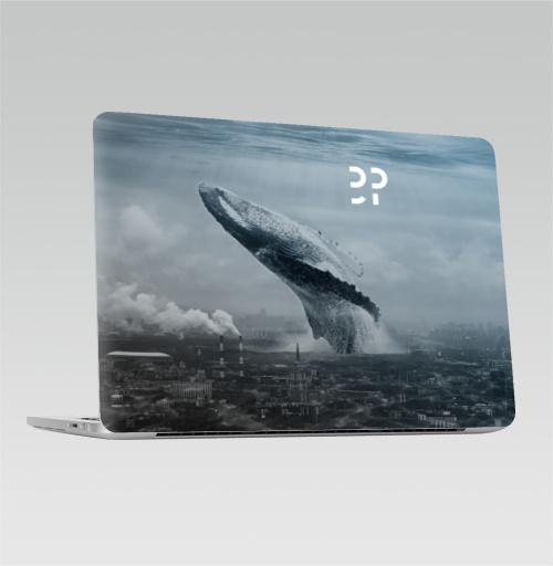 Наклейка на Ноутбук Apple Macbook Pro с Touch Bar Кит в мегаполисе,  купить в Москве – интернет-магазин Allskins, мегаполис, киты, эвентумпремо, футуризм, будущее