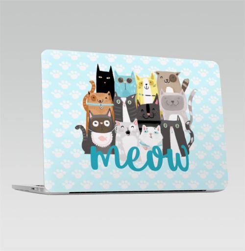 Наклейка на Ноутбук Apple Macbook Pro с Touch Bar Многокотов,  купить в Москве – интернет-магазин Allskins, кошка, кошка, кошка, кошка, запечатка, весна, яркий, веселый
