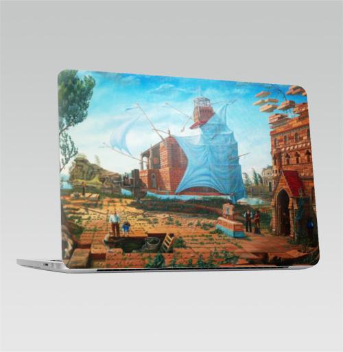 Наклейка на Ноутбук Apple Macbook Pro с Touch Bar Переезд,  купить в Москве – интернет-магазин Allskins, Батинок, речка, Тиски, рыбалка, Архитектура