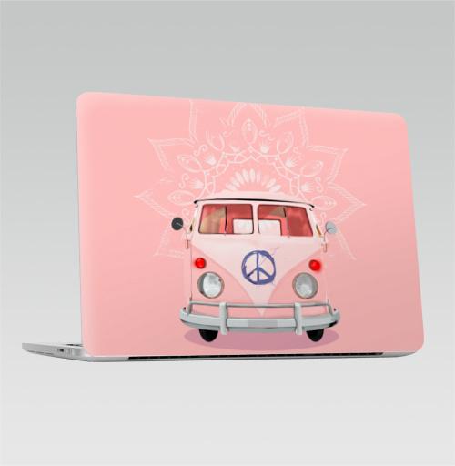 Наклейка на Ноутбук Apple Macbook Pro с Touch Bar Розовый Хиппи Автобус,  купить в Москве – интернет-магазин Allskins, автомобиль, автобус, хиппи, винтаж, ретро, Фольксваген, фольцваген, розовый, бохо