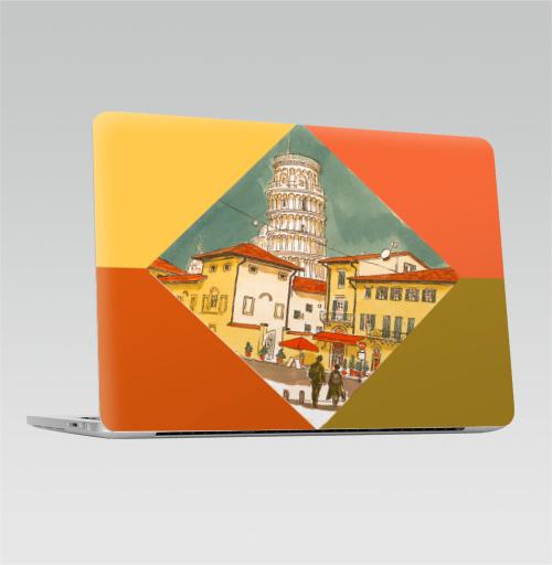Наклейка на Ноутбук Macbook Pro 2016-2018 – Macbook Pro Touch Bar Пиза Италия,  купить в Москве – интернет-магазин Allskins, ромб, италия, путешествия, дом, башня, город, скетч, желтый, лето