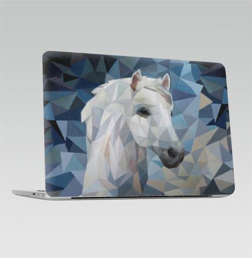 Наклейка на Ноутбук Apple Macbook Pro с Touch Bar Белая_Лошадь,  купить в Москве – интернет-магазин Allskins, лошадь, белая, белаялошадь, полигональный, полигональная_лошадь, геометрия, абстрация, современный