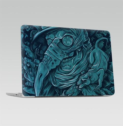 Наклейка на Ноутбук Apple Macbook Pro с Touch Bar Доктор чума,  купить в Москве – интернет-магазин Allskins, синий, голубой, графика, мужик, одноцвет, чума, ночь, татуировки, череп