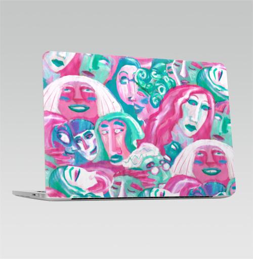 Наклейка на Ноутбук Apple Macbook Pro с Touch Bar Праздничная толпа,  купить в Москве – интернет-магазин Allskins, мятный, розовый, новогоднеенастроение, люди, персонажи, толпа, девушка, парные