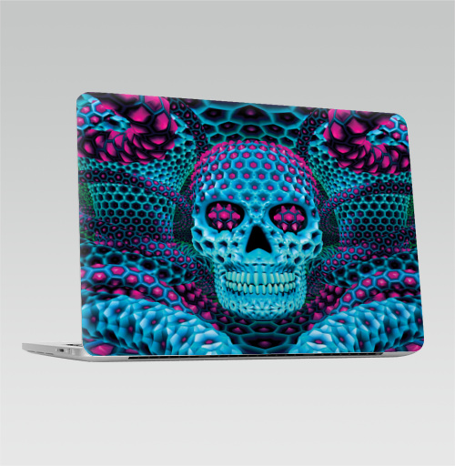 Наклейка на Ноутбук Apple Macbook Pro с Touch Bar Бдд - циан,  купить в Москве – интернет-магазин Allskins, череп, волшебные, магия, кислотная, фракталы, узор, галлюцинации, психоделичный, психоделика
