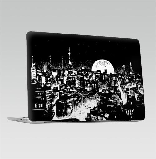 Наклейка на Ноутбук Apple Macbook Pro с Touch Bar Ночной город под луной,  купить в Москве – интернет-магазин Allskins, луна, ночь, город, черно-белое, черный, небо, графика