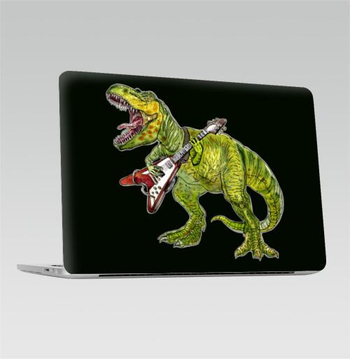 Наклейка на Ноутбук Macbook Pro 2016-2018 – Macbook Pro Touch Bar Хэви метал динозавр,  купить в Москве – интернет-магазин Allskins, rock, металл, музыка, музыкант, гитара, гитарист, динозавры