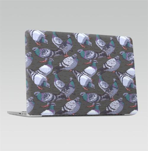 Наклейка на Ноутбук Apple Macbook Pro с Touch Bar Городской пейзаж,  купить в Москве – интернет-магазин Allskins, птицы, город, урбан, серый, паттерн
