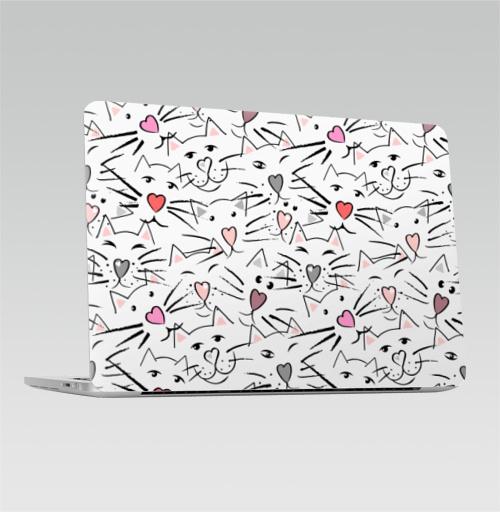 Наклейка на Ноутбук Apple Macbook Pro с Touch Bar Усы и сердечные носы,  купить в Москве – интернет-магазин Allskins, белый, сером, розовом, ушей, глаз, сердце, форме, кошка, усы