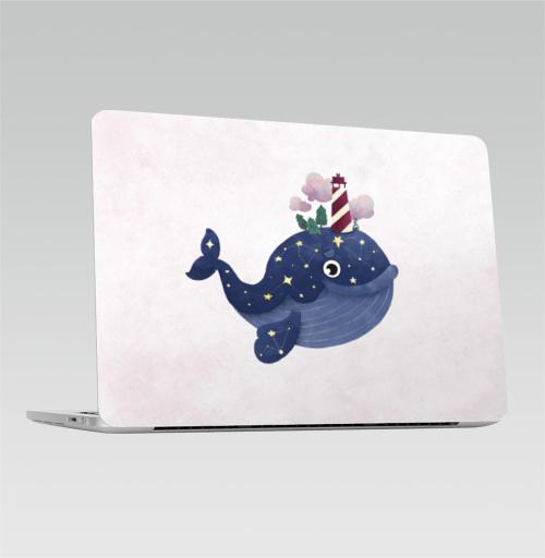 Наклейка на Ноутбук Macbook Pro 2016-2018 – Macbook Pro Touch Bar Кит хранитель маяка,  купить в Москве – интернет-магазин Allskins, киты, маяк, морская, звезда, космос, нежно, небо
