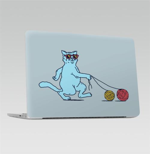 Наклейка на Ноутбук Apple Macbook Pro с Touch Bar Кот на прогулке,  купить в Москве – интернет-магазин Allskins, кошка, собаки, клубок