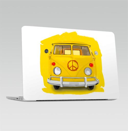 Наклейка на Ноутбук Apple Macbook Pro с Touch Bar Солнечный автобус,  купить в Москве – интернет-магазин Allskins, желтый, автобус, автомобиль, транспорт, хиппи, гранж, ретро