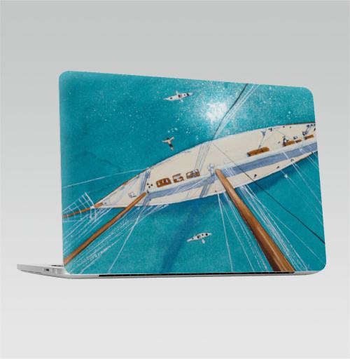 Наклейка на Ноутбук Apple Macbook Pro с Touch Bar Каникулы на яхте,  купить в Москве – интернет-магазин Allskins, аникулыы, отдых, вода, бирюзовый, мачты, лазурный, белый, морская, яхта