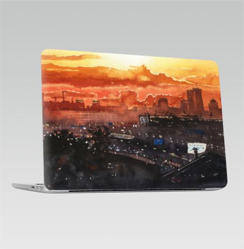 Наклейка на Ноутбук Apple Macbook Pro с Touch Bar Московский закат,  купить в Москве – интернет-магазин Allskins, Москва, lights, город, big, большой, небо, закакт
