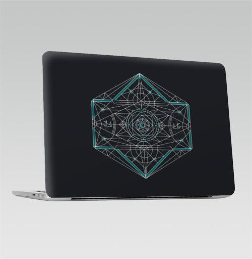 Наклейка на Ноутбук Apple Macbook Pro с Touch Bar Санлайн,  купить в Москве – интернет-магазин Allskins, белый, иллюстация, ромб, символ, узор, птицы, геометрический, линия, солнце