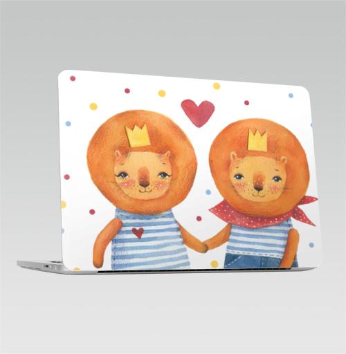 Наклейка на Ноутбук Apple Macbook Pro с Touch Bar Львы горошек,  купить в Москве – интернет-магазин Allskins, морская, сердце, лев