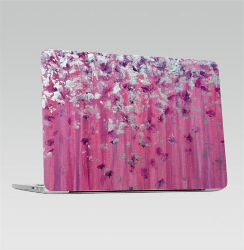 Наклейка на Ноутбук Apple Macbook Pro с Touch Bar Цвет настроения розовый,  купить в Москве – интернет-магазин Allskins, женский, розовый, 8 марта, женственно, серебро, серебряные, фиолетовый, живопись, акрил