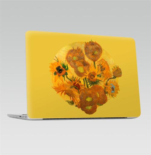 Наклейка на Ноутбук Apple Macbook Pro с Touch Bar Подсолнухи. Ван Гог,  купить в Москве – интернет-магазин Allskins, подсолнухи, Ван Гог, живописный, плакат, желтый, цветы, подсолнухиВанГог, натюрморт