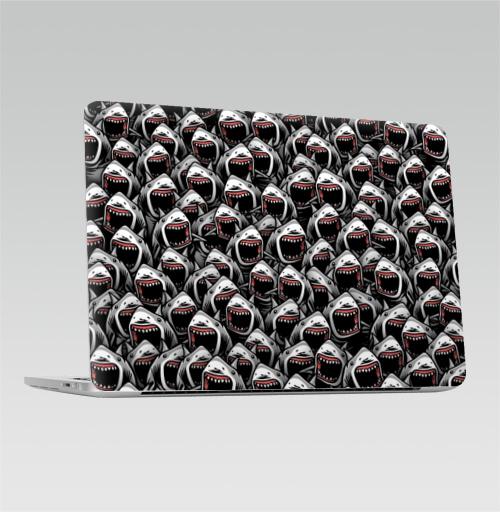 Наклейка на Ноутбук Apple Macbook Pro с Touch Bar Много акул,  купить в Москве – интернет-магазин Allskins, зубастик, хэллоуин, паттерн, акула, рыба, хищник, морская, океаны, клыки