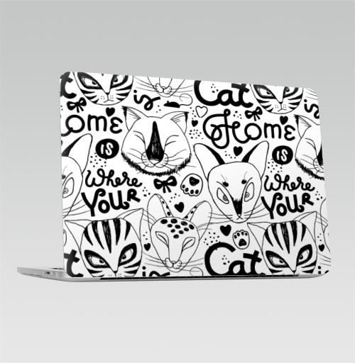 Наклейка на Ноутбук Macbook Pro 2016-2018 – Macbook Pro Touch Bar Твой дом там, где твой кот живет. Белый цвет,  купить в Москве – интернет-магазин Allskins, черно-белое, english, надписи, монохромный, белый, черный, кошка, котята