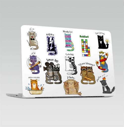Наклейка на Ноутбук Apple Macbook Pro с Touch Bar Коты великие ученые. Шрёдингер, Тесла, Эйнштейн. Физика, химия.,  купить в Москве – интернет-магазин Allskins, english, надписи, космос, космокот, прикольные_рисунки, животные, физика, кошка, паттерн