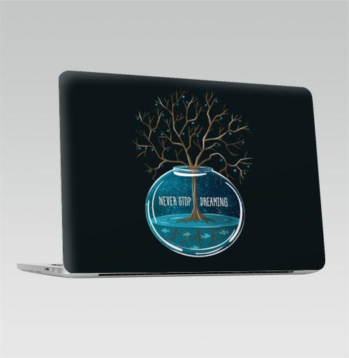 Наклейка на Ноутбук Macbook Pro 2016-2018 – Macbook Pro Touch Bar Не переставай мечтать,  купить в Москве – интернет-магазин Allskins, мечта, синий, бирюзовый, космос, деревья, рыба, вода, гики, растр, галактика