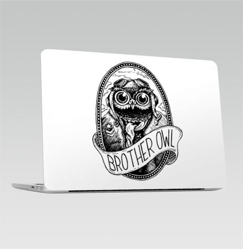 Наклейка на Ноутбук Apple Macbook Pro с Touch Bar Брат Сова,  купить в Москве – интернет-магазин Allskins, графика, брат, братишки, сова, самолет