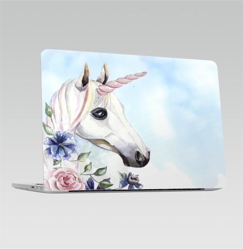 Наклейка на Ноутбук Macbook Pro 2016-2018 – Macbook Pro Touch Bar Единорог в цветах,  купить в Москве – интернет-магазин Allskins, единорог, цветы, акварель, васильки, василек, розовый, голубой, пастельный, лошадь