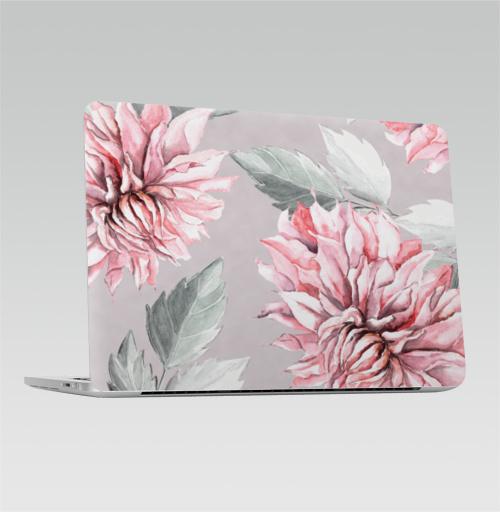 Наклейка на Ноутбук Macbook Pro 2016-2018 – Macbook Pro Touch Bar Георгины,  купить в Москве – интернет-магазин Allskins, акварель, пастель, пастельный, пастельные, нежно, розовый, георгин, сиреневый, крупный, запечатка