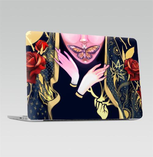 Наклейка на Ноутбук Macbook Pro 2016-2018 – Macbook Pro Touch Bar Инсомния,  купить в Москве – интернет-магазин Allskins, красота, современное, демоны, кукла, ба, бабачка, розы, руки, накидка, человек