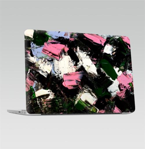 Наклейка на Ноутбук Macbook Pro 2016-2018 – Macbook Pro Touch Bar Абстрактный принт Летний вечер,  купить в Москве – интернет-магазин Allskins, розовый, зеленый, белый, черный, вечер, летний, акрил, мазки, современный, абстракция