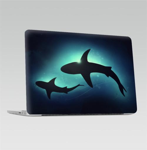 Наклейка на Ноутбук Macbook Pro 2016-2018 – Macbook Pro Touch Bar Черные акулы,  купить в Москве – интернет-магазин Allskins, брызги, акварель, иллюстация, паттерн, солнце, вода, оекан, морская, рыба, акула