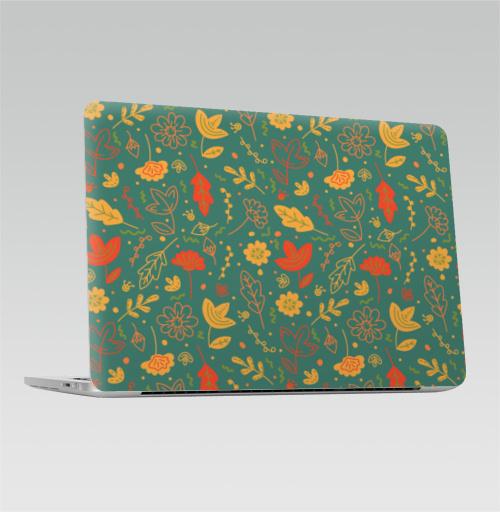 Наклейка на Ноутбук Macbook Pro 2016-2018 – Macbook Pro Touch Bar Цветы и листья в стиле Дудл,  купить в Москве – интернет-магазин Allskins, графика, яркий, зеленый, желтый, оранжевый, фонарь, Темная, зеленй, цветы, ветка, оражевый, осень, лето, листья, дудлы