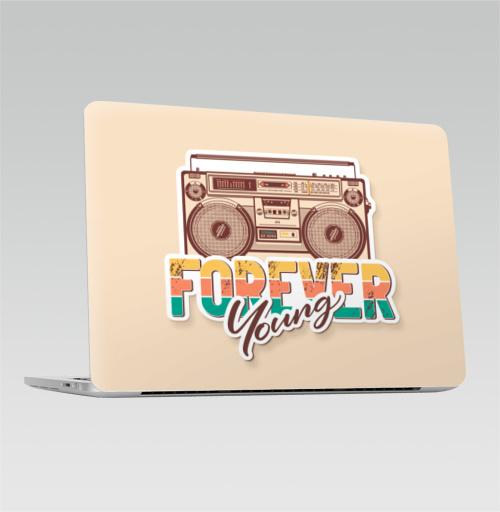 Наклейка на Ноутбук Macbook Pro 2016-2018 – Macbook Pro Touch Bar Вечно молодой - Форевер Янг,  купить в Москве – интернет-магазин Allskins, Вечность, молодость, типографика, lettering, мелодия, винтаж, кассеты, ретро, музыка, бумбокс