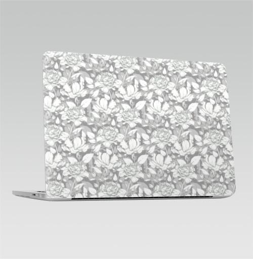 Наклейка на Ноутбук Macbook Pro 2016-2018 – Macbook Pro Touch Bar Паттерн из роз,  купить в Москве – интернет-магазин Allskins, розы, классика, карандаш, монохромный, рисунки, цветы, букет