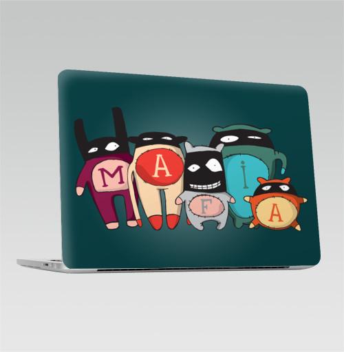Наклейка на Ноутбук Macbook Pro 2016-2018 – Macbook Pro Touch Bar The mafia,  купить в Москве – интернет-магазин Allskins, семейные, желтый, голубой, черный, детские, маска, мафия, монстры, 300 Лучших работ, милые животные