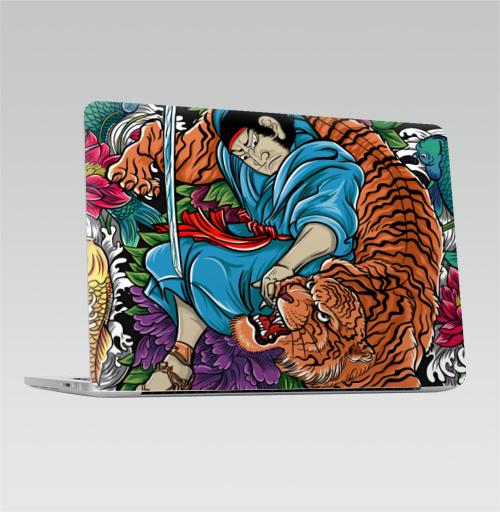 Наклейка на Ноутбук Macbook Pro 2016-2018 – Macbook Pro Touch Bar Меч самурая,  купить в Москве – интернет-магазин Allskins, классика, Япония, самурай, тигры, ориентал, Китай, цветы, японская