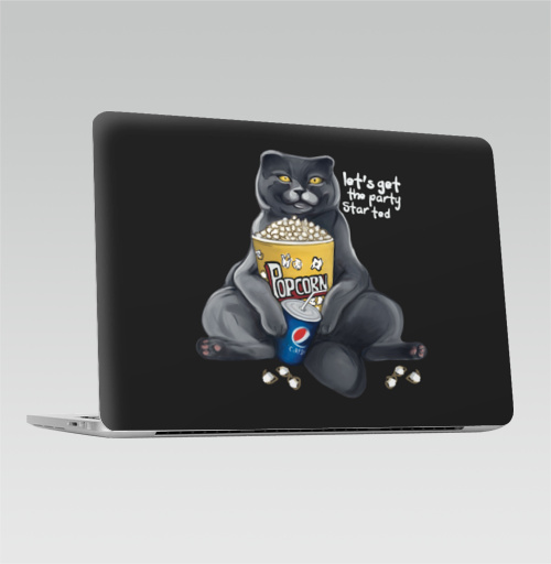 Наклейка на Ноутбук Macbook Pro 2016-2018 – Macbook Pro Touch Bar Кот с попкорном Да начнётся кино вечеринка,  купить в Москве – интернет-магазин Allskins, киноман, газировка, напиток, пепси, попкорн, вечер, вечеринка, котаны, котоенок, котята, кино