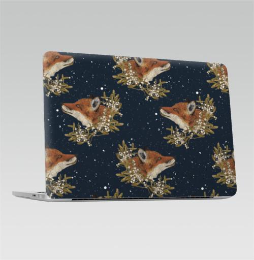Наклейка на Ноутбук Macbook Pro 2016-2018 – Macbook Pro Touch Bar Зимние лисички.,  купить в Москве – интернет-магазин Allskins, зима, лиса, омела, снег, лису, листья