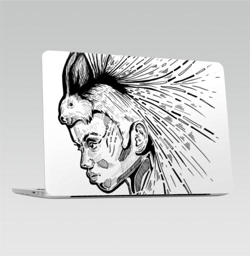 Наклейка на Ноутбук Macbook Pro 2016-2018 – Macbook Pro Touch Bar Женщина с дикообразом на голове,  купить в Москве – интернет-магазин Allskins, девушка, афроамериканка, Дикобраз, животные, черно-белое, графика, гравюра, женщинакошка, глаз, иглу