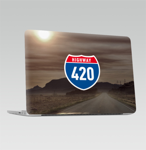 Наклейка на Ноутбук Macbook Pro 2016-2018 – Macbook Pro Touch Bar Highway 420,  купить в Москве – интернет-магазин Allskins, english, дым, логотип, надписи, свобода